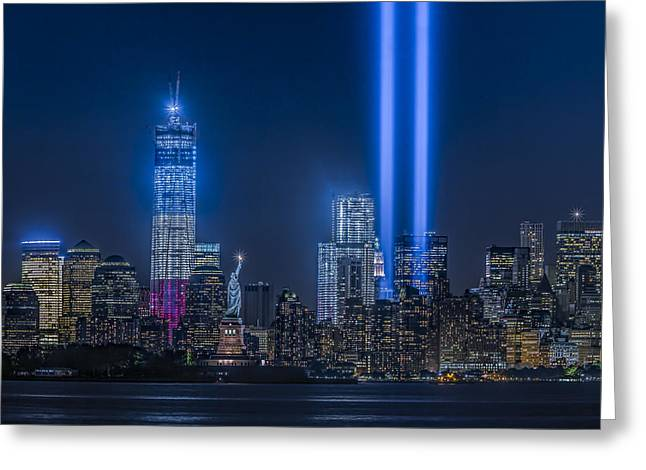 September 11 Greeting Cards - New York City Tribute In Lights Greeting Card by Susan Candelario