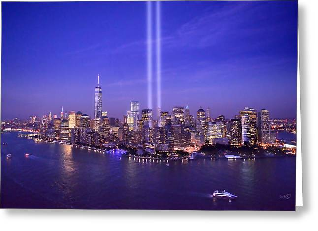 New York City Tribute In Lights World Trade Center Wtc Manhattan Nyc Greeting Card by Jon Holiday