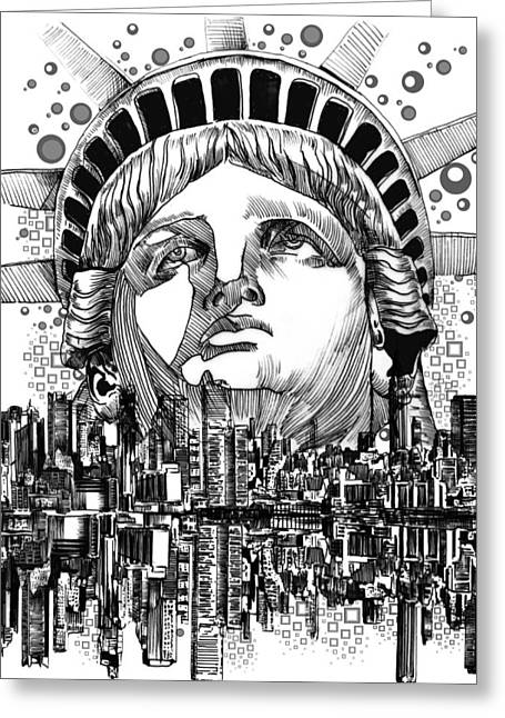 Statue Portrait Greeting Cards - New York City tribute Greeting Card by MB Art factory
