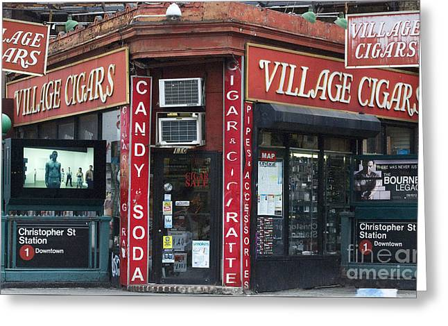Times Square Digital Greeting Cards - New York City Village Cigars  Greeting Card by Anahi DeCanio