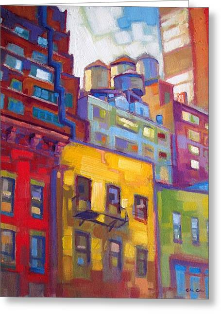 Impresssionism Greeting Cards - New York City Water Towers Greeting Card by Caleb Colon