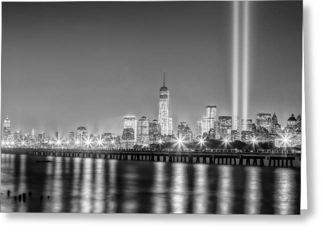 September 11 Wtc Greeting Cards - New York City Will Never Forget BW Greeting Card by Susan Candelario