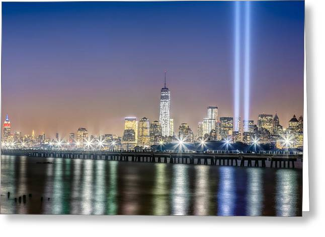 Wtc 11 Photographs Greeting Cards - New York City Will Never Forget Greeting Card by Susan Candelario