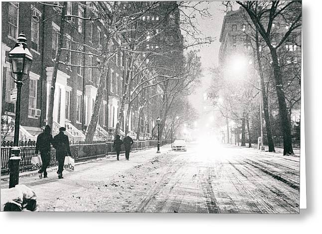 New York City - Winter Night In The Snow At Washington Square  Greeting Card by Vivienne Gucwa