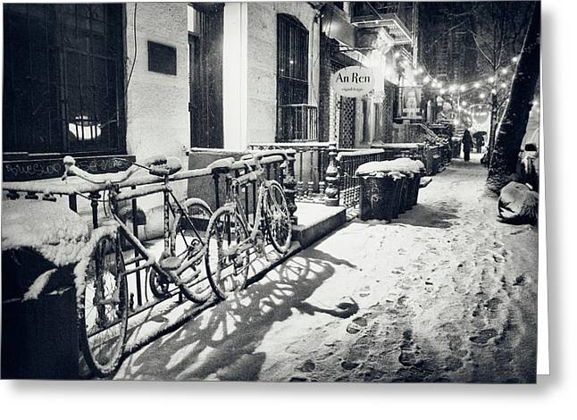 New York Photo Greeting Cards - New York City - Winter Night in the Snow - East Village Greeting Card by Vivienne Gucwa