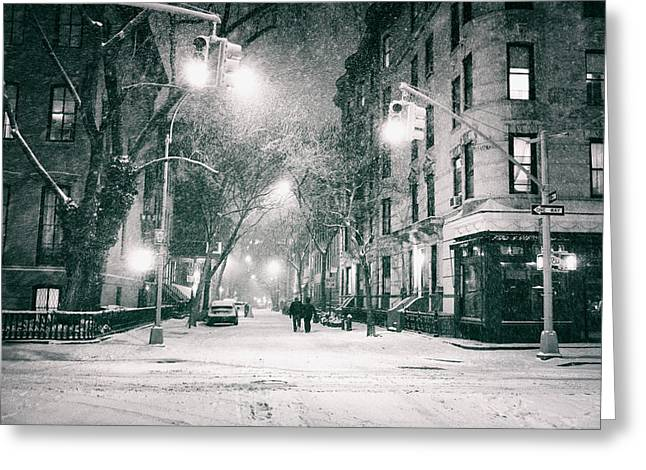 New York Photo Greeting Cards - New York City - Winter Night in the West Village Greeting Card by Vivienne Gucwa