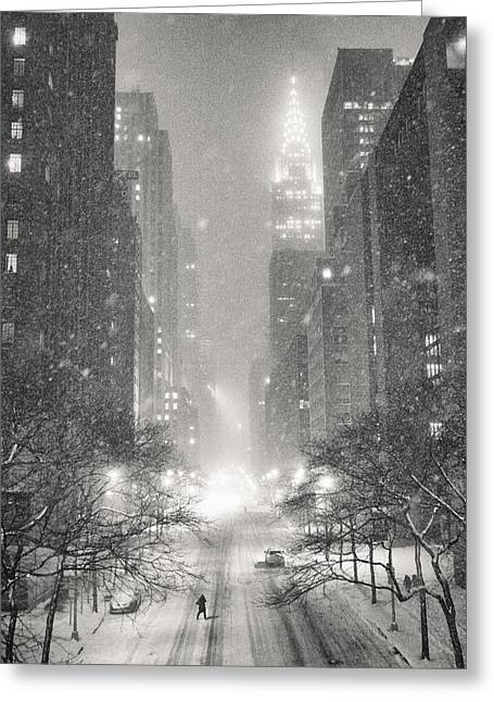 New York City - Winter Night Overlooking The Chrysler Building Greeting Card by Vivienne Gucwa