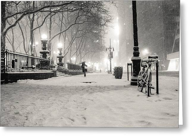 Blizzard New York Greeting Cards - New York City Winter Night Greeting Card by Vivienne Gucwa