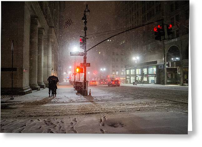 Blizzard New York Greeting Cards - New York City Winter - Romance in the Snow Greeting Card by Vivienne Gucwa