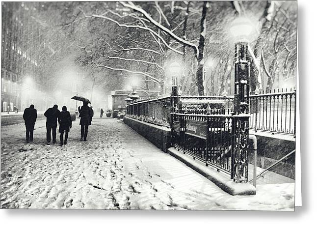 New York Photo Greeting Cards - New York City - Winter - Snow at Night Greeting Card by Vivienne Gucwa