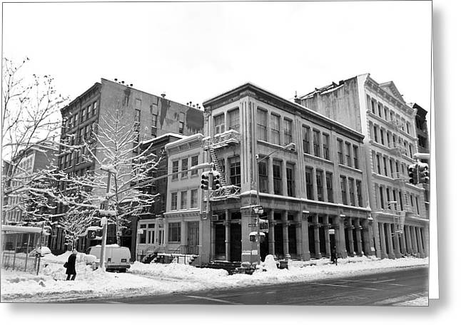 New York Snow Greeting Cards - New York City Winter - Snow in Soho Greeting Card by Vivienne Gucwa