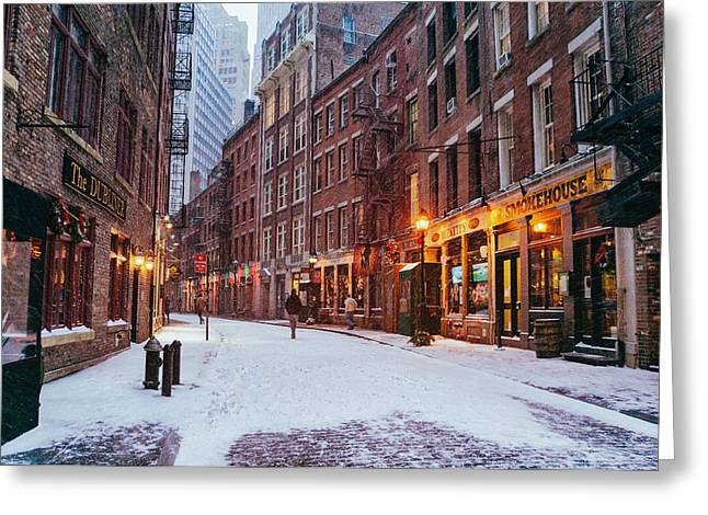 Financial Greeting Cards - New York City - Winter - Snow on Stone Street Greeting Card by Vivienne Gucwa