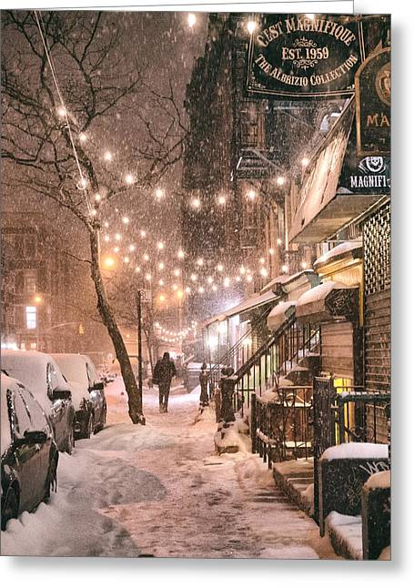 New York Photo Greeting Cards - New York City - Winter Snow Scene - East Village Greeting Card by Vivienne Gucwa