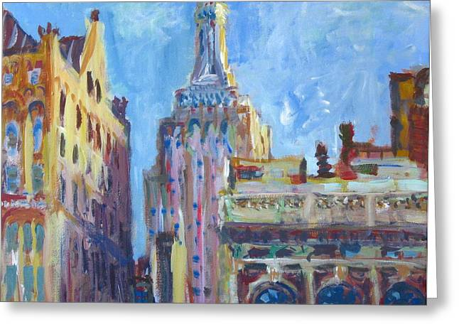 Bryant Paintings Greeting Cards - New York Ciy Skyline 1 Greeting Card by Edward Ching