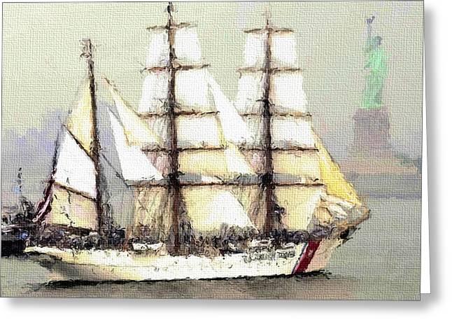 Live Art Greeting Cards - New York Coast Ship Greeting Card by Yury Malkov