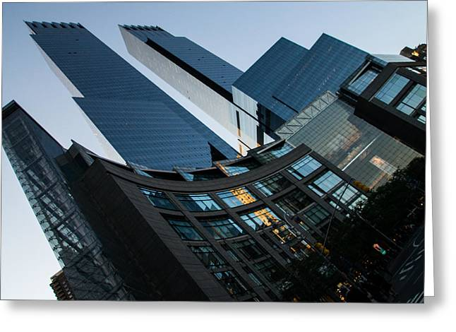 Sunset Abstract Greeting Cards - New York Curves and Skyscrapers Greeting Card by Georgia Mizuleva