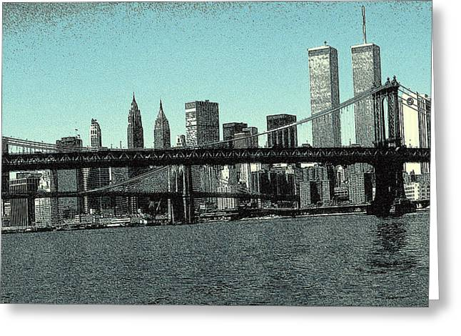 Brooklyn Bridge Mixed Media Greeting Cards - New York Downtown Manhattan Skyline 2 - Drawing Greeting Card by Peter Fine Art Gallery  - Paintings Photos Digital Art