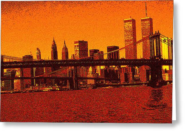 Pencil On Canvas Digital Greeting Cards - New York Downtown Manhattan Skyline 3 - Drawing Illustration Greeting Card by Peter Fine Art Gallery  - Paintings Photos Digital Art