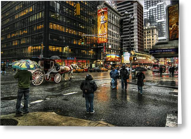 Showtime Greeting Cards - New York Dreams Greeting Card by Linda Unger