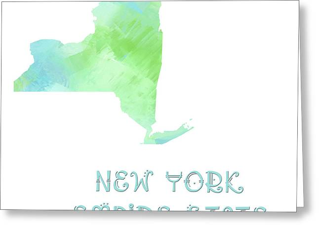 State Phrase Greeting Cards - New York - Empire State - Map - State Phrase - Geology Greeting Card by Andee Design