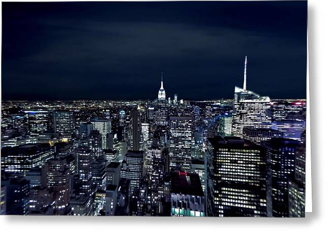 New York Vista Greeting Cards - New York Evening Greeting Card by Dan Sproul