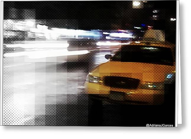 Noteworthy Art Greeting Cards - New York Fashion Avenue  Greeting Card by Adriana Garces