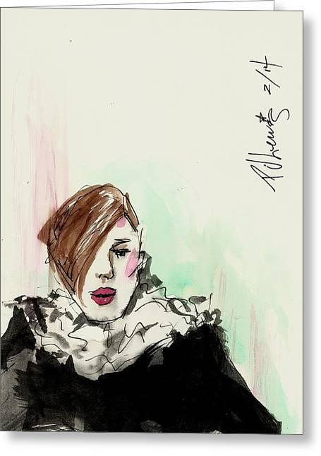 Rag Lady Greeting Cards - New York fashion week Greeting Card by P J Lewis