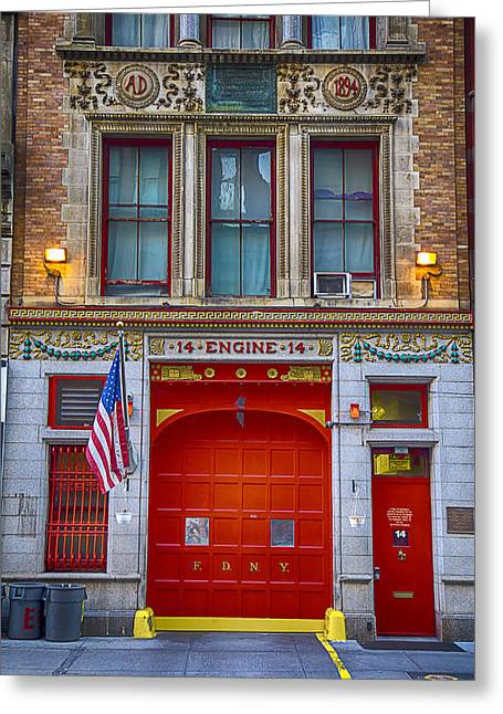 City Street Scene Greeting Cards - New York Fire Station Greeting Card by Garry Gay