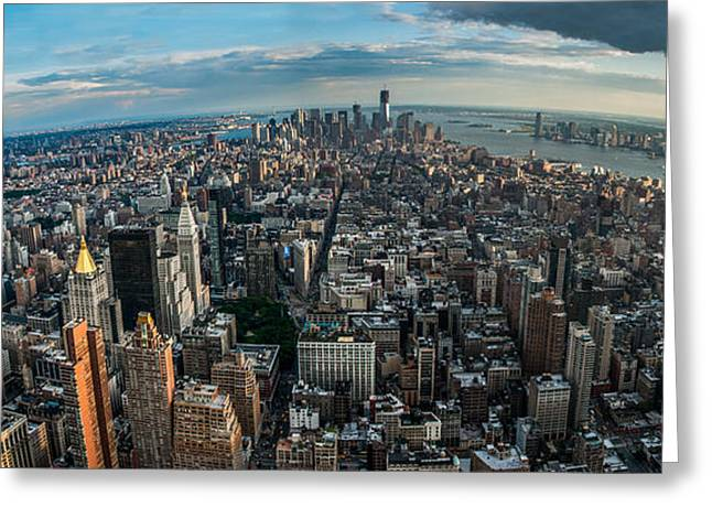 Manhatten Photographs Greeting Cards - New York from a birds eyes - fisheye Greeting Card by Hannes Cmarits