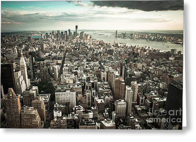 Manhatten Photographs Greeting Cards - New York from above - vintage Greeting Card by Hannes Cmarits
