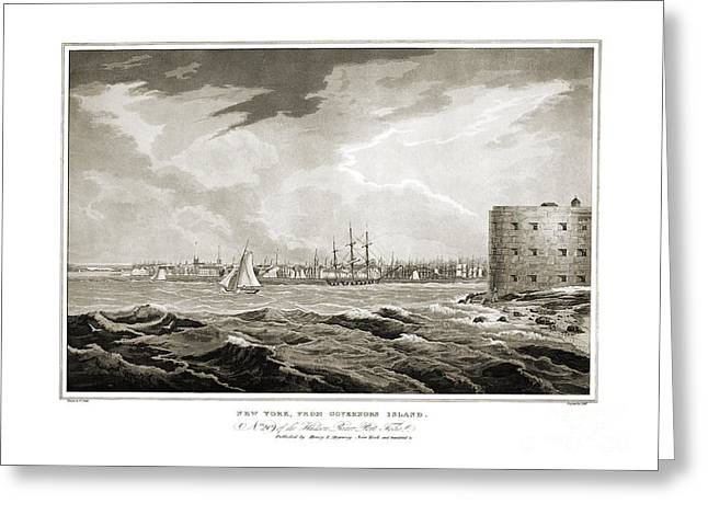 Governor Island Greeting Cards - New York from Governors Island - 1821 Greeting Card by Pablo Romero