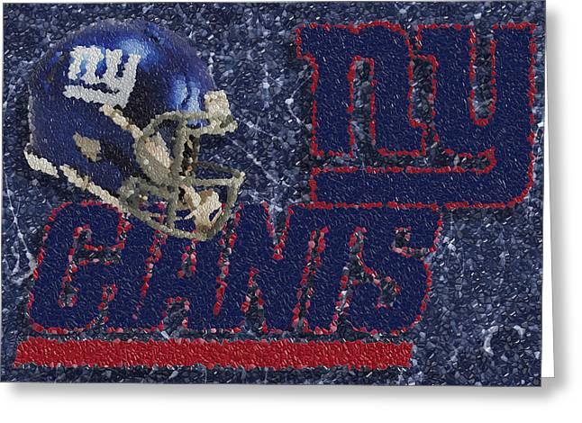 Most Valuable Player Greeting Cards - New York Giants Mosaic Greeting Card by Jack Zulli