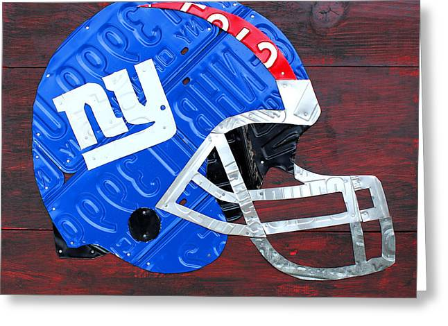 Nfl Mixed Media Greeting Cards - New York Giants NFL Football Helmet License Plate Art Greeting Card by Design Turnpike