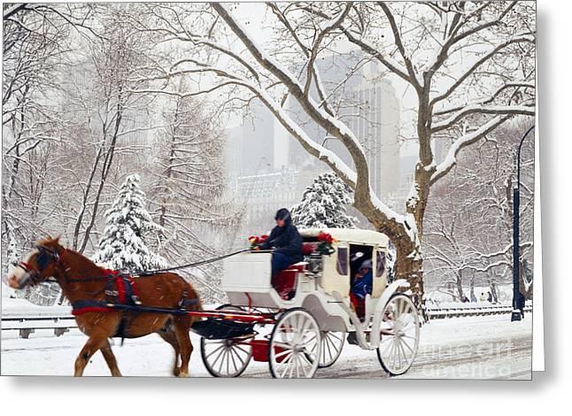 Hansom Cab Greeting Cards - New York Hansom Cab Greeting Card by Rafael Macia