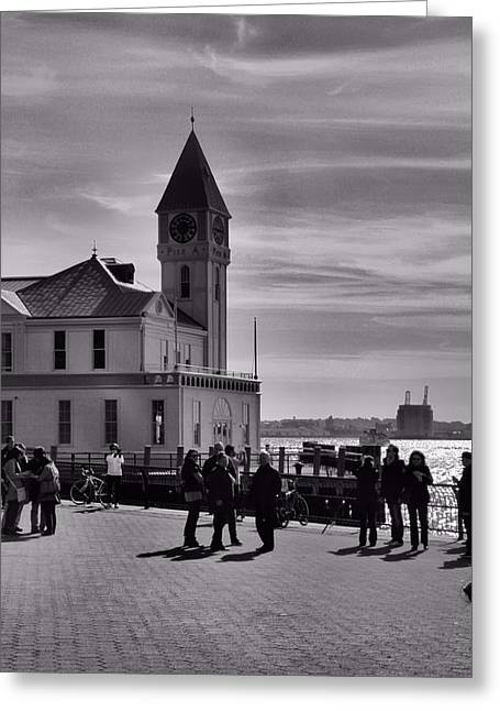 Family Love Greeting Cards - New York Harbor In Black And White Greeting Card by Dan Sproul