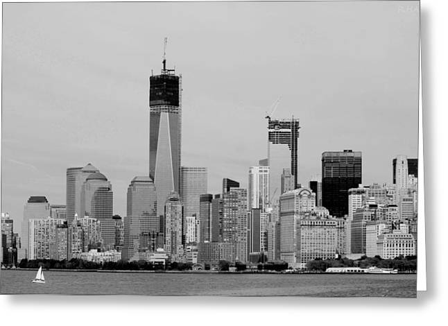 Wtc 11 Greeting Cards - NEW YORK HARBOR in BLACK AND WHITE Greeting Card by Rob Hans