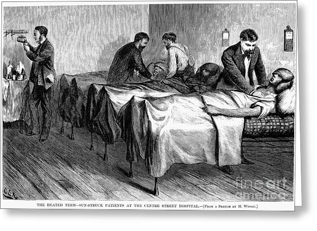 1876 Greeting Cards - New York: Heatstroke, 1876 Greeting Card by Granger