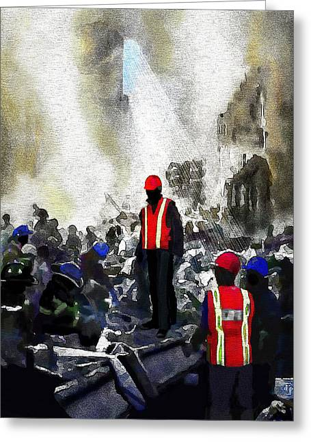 Terrorist Paintings Greeting Cards - New York Heros Greeting Card by Jann Paxton