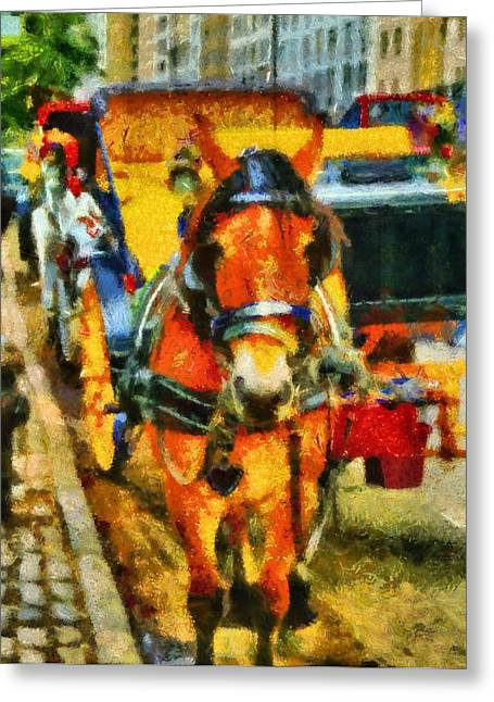 Horse Mixed Media Greeting Cards - New York Horse And Carriage Greeting Card by Dan Sproul