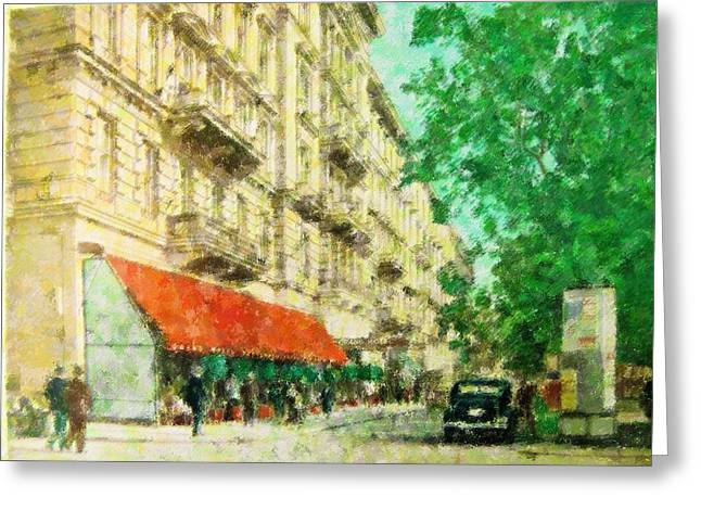 Famous Person Mixed Media Greeting Cards - New York In the Forties Greeting Card by Florene Welebny