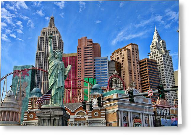 Tropicana Las Vegas Greeting Cards - New York in Vegas by Diana Sainz Greeting Card by Diana Sainz