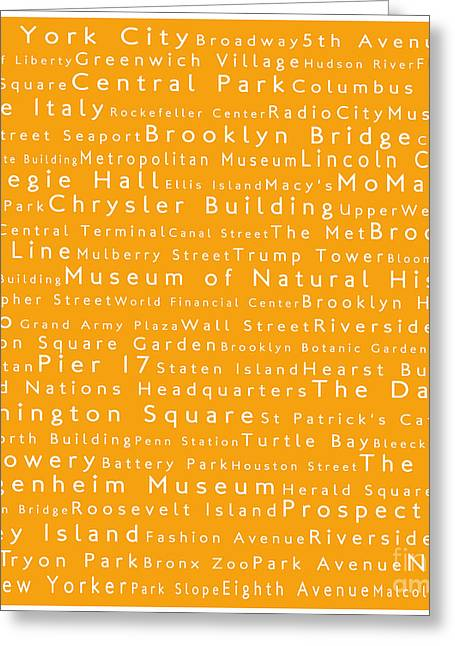 Lincoln Center Greeting Cards - New York in Words Orange Greeting Card by Sabine Jacobs