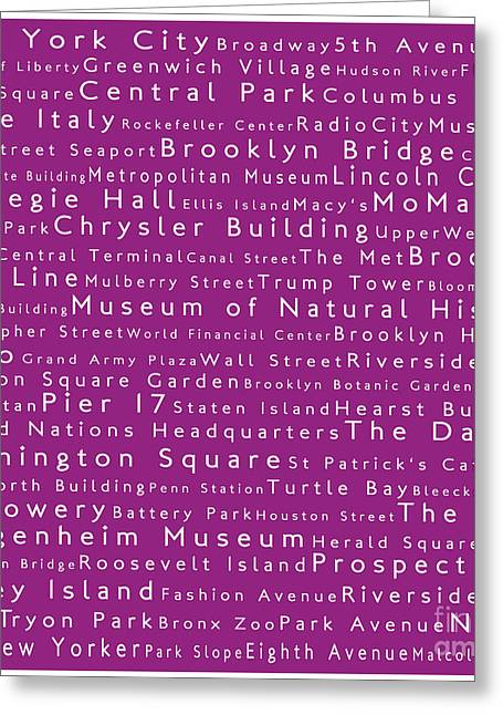 Lincoln Center Greeting Cards - New York in Words Pink Greeting Card by Sabine Jacobs