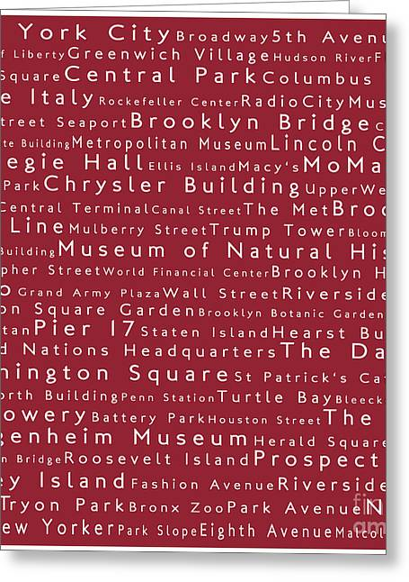Lincoln Center Greeting Cards - New York in Words Red Greeting Card by Sabine Jacobs