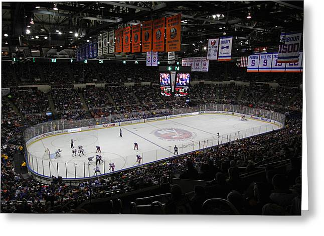 Veterans Stadium Greeting Cards - New York Islanders Greeting Card by Juergen Roth