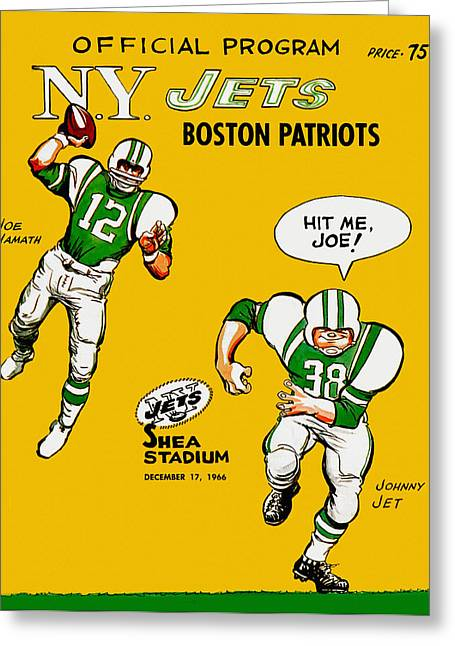 Shea Stadium Paintings Greeting Cards - New York Jets 1966 Program Greeting Card by Big 88 Artworks
