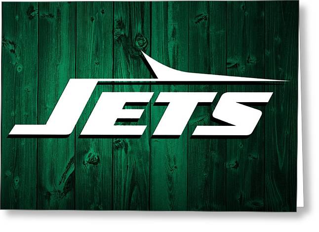 Offense Mixed Media Greeting Cards - New York Jets Barn Door Greeting Card by Dan Sproul