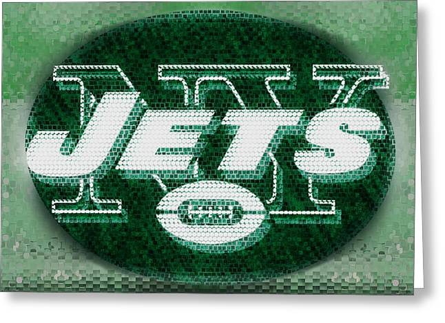 Shea Stadium Digital Greeting Cards - New York Jets Greeting Card by Jack Zulli