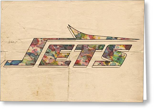 Ny Jets Logo Greeting Cards - New York Jets Vintage Art Greeting Card by Florian Rodarte