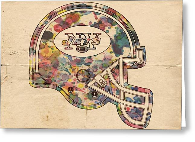 Ny Jets Logo Greeting Cards - New York Jets Vintage Helmet Greeting Card by Florian Rodarte